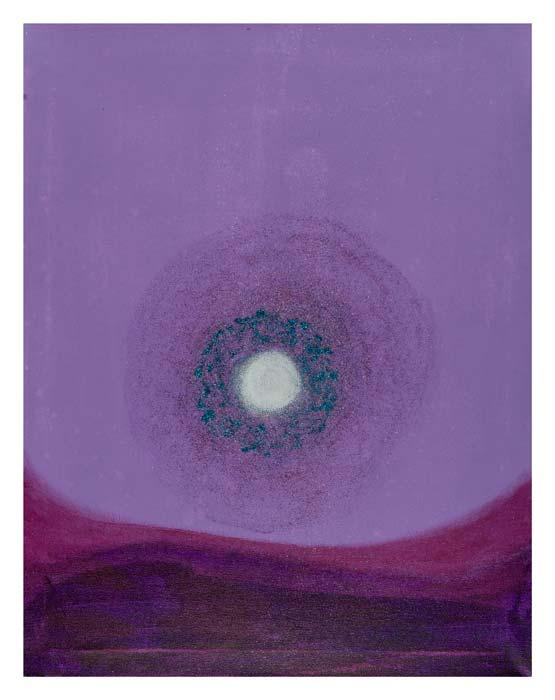 Heelal met witte cirkel en blauwe rand 40 op 50 cm | Te koop