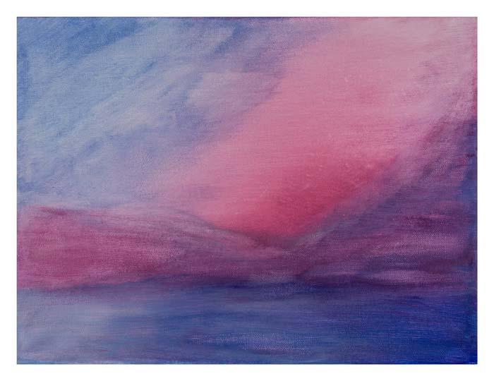 Rode zonsondergang in Voorburg 30 op 40 cm | Te koop