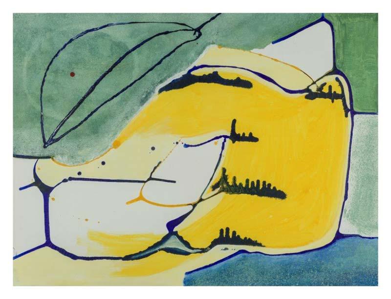 Druipblauw en geel 60 op 80 cm | Te Koop
